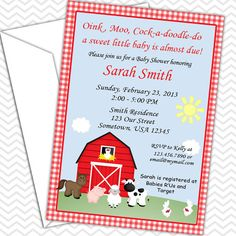 Barn Yard Farm Animals Red Gingham Invitations by sharenmoments, $10.00