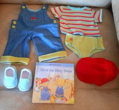 """AMERICAN GIRL BITTY BABY TWIN RETIRED DENIM OVERALL """"MEETS"""" OUTFIT NIB -"""