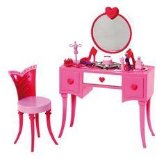 Is it bad I want all the Barbie stuff for myself? Its hard not to buy your little girl every little Barbie piece that comes out! Barbie Room in a Box - Vanity - Mattel - Toys R Us Barbie Room, Barbie Doll House, Barbie Dolls, Mattel Barbie, Barbie Stuff, Dollhouse Furniture Sets, Furniture Sets For Sale, Furniture Vanity, Barbie Furniture