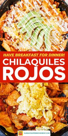 Start your morning with the BEST Mexican breakfast: Chilaquiles Rojos! Lightly fried and crispy tortillas simmer in salsa and cook with scrambled eggs and cheese for a quick and easy breakfast or brunch recipe. Best Brunch Recipes, Mexican Breakfast Recipes, Mexican Dishes, Mexican Food Recipes, Dinner Recipes, Mexican Brunch, Favorite Recipes, Breakfast For Dinner, Perfect Breakfast