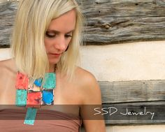 Patina Block Necklace by ssdjewelry on Etsy. A beautiful statement piece. Nice colours.
