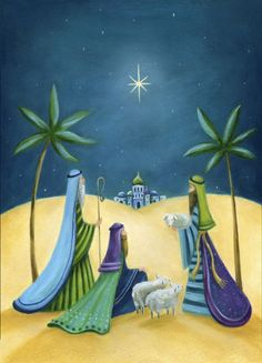 Ileana Oakley - Christmas Shepherds Religious Bethlehem Sheep