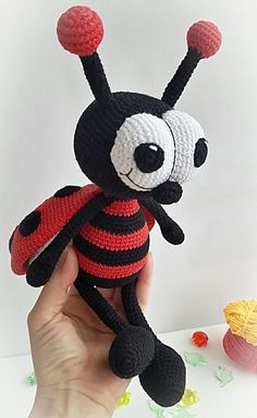 Crochet Ladybug Crochet toy Ladybug Cute Ladybug Present Crochet Ladybug, Crochet Bee, Crochet Dolls, Amigurumi Doll, Amigurumi Patterns, Crochet Patterns, Lady Bug, Baby Christmas Gifts, Crochet Animals