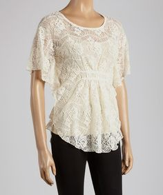 Another great find on #zulily! Young Essence Beige Lace Cape-Sleeve Top by Young Essence #zulilyfinds