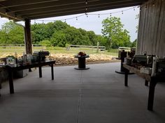 Food setup Station Style on farm wood tables and wire spools