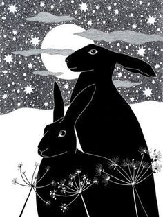 Art print Black hares Ink drawing Ink Illustration 10 by caitlihne Art And Illustration, Rabbit Illustration, Street Art, Rabbit Art, Bunny Art, Oeuvre D'art, Printmaking, Artsy, Creatures
