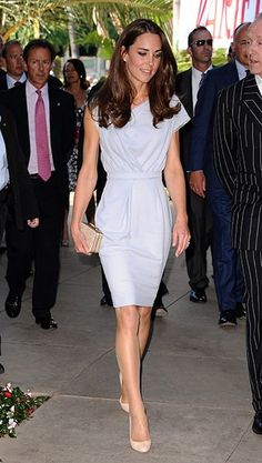 Photo by: Getty    Kate sported another Jenny Packham creation, though this one considerably more casual, at the airport in Calgary.                       Photo by: Getty    Arriving in California for the first time, Kate wore a light blue Roksanda Ilinic dress. Very airport chic.