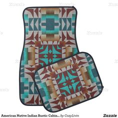 American Native Indian Rustic Cabin Mosaic Pattern Floor Mat,Artwork designed by Cozy Livin Designs