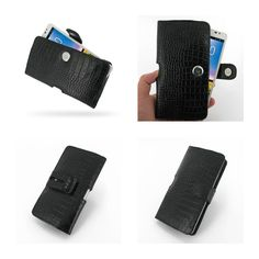 PDair Leather Case for Huawei Ascend Mate - Horizontal Pouch Type (Black/Crocodile Pattern)