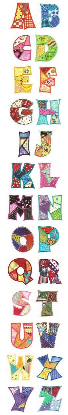 Embroidery Free Machine Embroidery Designs Patchwork Applique Alphabet by Sewing Appliques, Applique Patterns, Applique Quilts, Applique Designs, Patchwork Quilting, Quilt Patterns, Sewing Patterns, Crazy Patchwork, Machine Applique