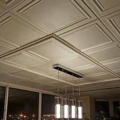 Ceiling Decor, Ceiling Design, Ceiling Lights, Ceiling Ideas, Styrofoam Ceiling Tiles, Faux Tin Ceiling Tiles, Covering Popcorn Ceiling, Ceiling Panels, Ceiling Grid