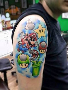 Arm Tattoo Super Mario Comic #Tattoo, #Tattooed, #Tattoos