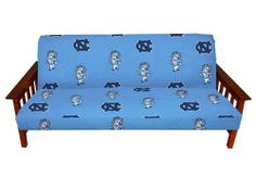 """UNC Futon Cover - Full Size fits 8 and 10 inch mats - North Carolina Tar Heels - UNC by College Covers. $47.95. 200 thread count. 100% cotton sateen. College Covers brand Futon Cover is 100% Cotton Duck 200 thread count fabricfor a sturdy yet soft feel.Futon cover has all over print design for a complete look. Show off your favorite team logo in style. Futon cover has 3 sided zipper for easy on/off and is machine washable. Fits full size futons 6""""-10"""" thickness."""