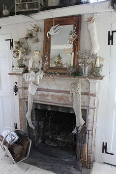 Shabby chic Christmas decor, holiday decoration in white