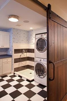 Laundry room laundry room traditional with black and white black and white
