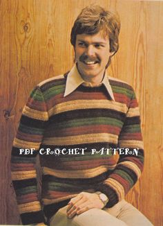 Vintage Men's Crocheted Striped Sweater by KatnaboxCrochet on Etsy