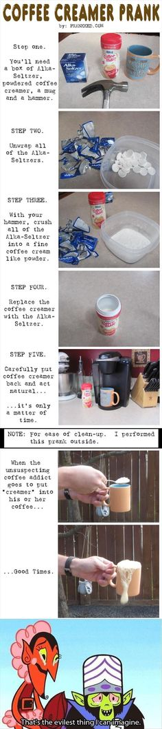 Coffee creamer prank