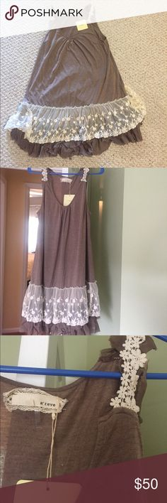 Modcloth A'reve sleeveless brown dress lace tulle NWT sleeveless brown dress with tulle lace. No defects, never worn, pet/ smoke free house. Same or next day shipping. Very cute dress perfect for summer! A'Reve Dresses