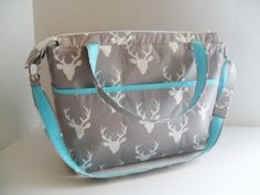 Large Diaper Bag Gray Deer Zipper Closure by fromnancy on Etsy