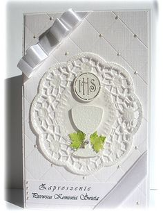 zaproszenie#2 by krystyna.s, via Flickr First Communion Cards, Baby Favors, Anniversary Cards, Christening, Wedding Engagement, Wedding Cards, Cardmaking, Faith, Quilling