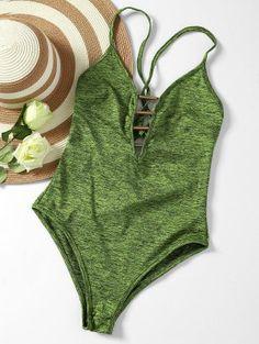 6776048f72ff9 Lace Up Plunge Neck Monokini - Army Green M Monokini Swimsuits