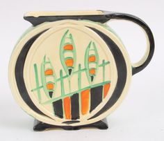 Myott Pottery Art Deco Studio Hand-Painted Unusual Pattern Flower Jug
