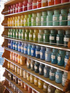 Art Store in the Nezu neighborhood in Tokyo. Those are jars of pigment!!!!