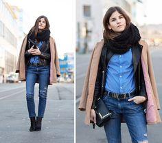 #winter Asos Leather Jacket, Wildfox Boyfriend Jeans, Beige Coat, Tommy Hilfiger Pinstripe Shirt