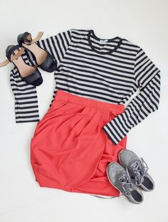 Coral skirt, Marimekko shirt, Adidas Los Angeles sneakers