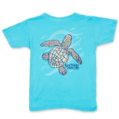 f3c37829 Southern Fried Cotton Polka Dot Pointer Youth Pocket T-Shirt - Lagoon Blue  Turtle Clothes