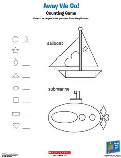 How many shapes can your child find? Ask him to find as many as he can in this boat and submarine!