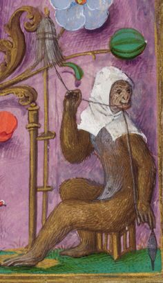Detail from a full border of a monkey wearing a cowl spinning thread, from the Isabella Breviary, Southern Netherlands (Bruges), late 1480s and before 1497, British Library, Additional 18851, f. 459
