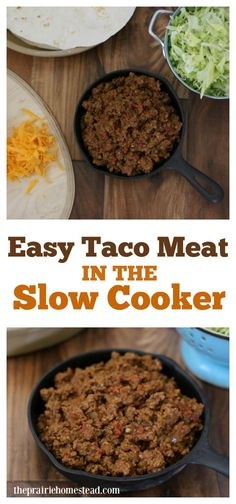 Pot Taco Meat Never thought about making taco meat in the slow cooker before, looks like a good idea and one that I'll have to try.Never thought about making taco meat in the slow cooker before, looks like a good idea and one that I'll have to try. Crock Pot Tacos, Crock Pot Slow Cooker, Slow Cooker Recipes, Taco Meat In Crockpot, Taco Johns Meat Recipe, Beef Taco Recipe, Crockpot Meals, Slow Cooking, Cooking Oil