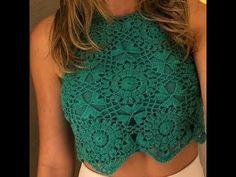 Cropped crochê squares - Versão destro - Parte 2 - YouTube Diy Crochet Top, Crochet Skirts, Crochet Blouse, Free Crochet, Crochet Bikini, Beach Dresses, Crochet Projects, Crochet Patterns, Crop Tops