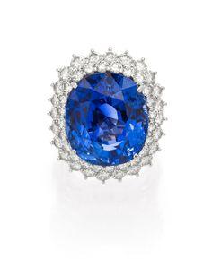 A Fine Platinum, Natural Ceylon Sapphire and Diamond Ring