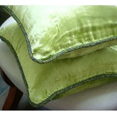Designer Lime Green Pillow Covers 16x16 Velvet by TheHomeCentric