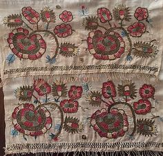 19th LARGE ANTIQUE OTTOMAN-TURKISH GOLD METALLIC HAND EMBROIDERY ON LINEN in Antiques, Linens & Textiles (Pre-1930), Embroidery | eBay