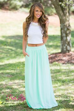 For those summer nights, you are going to need this new maxi skirt! It's the perfect spring color with a bit of elegance and style!