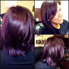 My new plum hair! I used Matrix Color Sync with some red kicker and Pravana V. My new plum hair Bright Purple Hair, Funky Hair Colors, Violet Hair Colors, Hair Color Purple, Matrix Hair Color, Hair Color Highlights, Pelo Color Borgoña, Colour, Short Hair Images