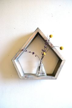 Etsy shop that has cool geometric shelves Geometric Shelves, Triangle Shelf, Box Shelves, Shelving, Green Building, Accent Colors, Decoration, Decorative Items, Interior And Exterior
