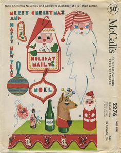 Vintage Christmas Sewing Pattern  Christmas Novelties and Alphabet  McCall's 2276 from 1958