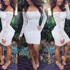 Sexy Women Lady Celeb Off Shoulder Lace Stretch Bodycon Bandage Mini DressAL3302