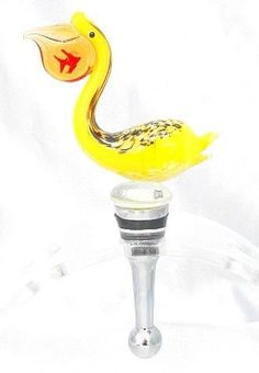 New Hand Blown Glass Yellow Spotted Pelican Wine Stopper with Fish in Its Mouth | eBay