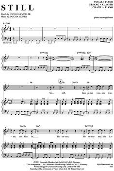Still (Klavier Begleitung + Gesang) Jupiter Jones [PDF Noten] >>> KLICK auf die Noten um Reinzuhören <<< Noten und Playback zum Download für verschiedene Instrumente bei notendownload Blockflöte, Querflöte, Gesang, Keyboard, Klavier, Klarinette, Saxophon, Trompete, Posaune, Violine, Violoncello, E-Bass, und andere ...