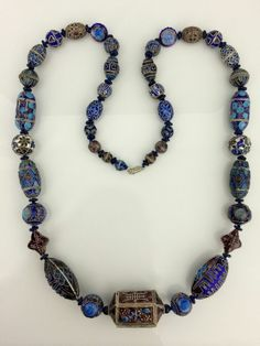 """Long 33"""" Chinese Enamel Bead Beaded Necklace Some Enameled Silver"""