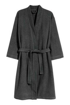 Robe de chambre en éponge - Gris anthracite - Home All   H&M FR 1