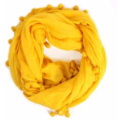 Bohemia - Pom Pom Scarf Yellow ($76) ❤ liked on Polyvore featuring accessories, scarves, yellow scarves, oversized scarves, yellow shawl, wrap shawl et lightweight scarves