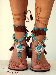 Sandalias de cuero de América nativas zapatos hippie por DelosArt