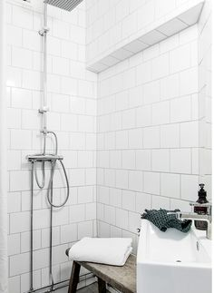 Square tiles in a subway pattern | bathroom ideas | white