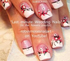 Nail-art by Robin Moses - Red flowers on french